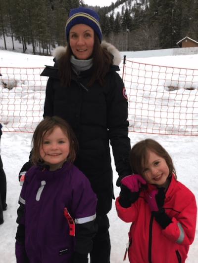 Jessica med två av sina barn
